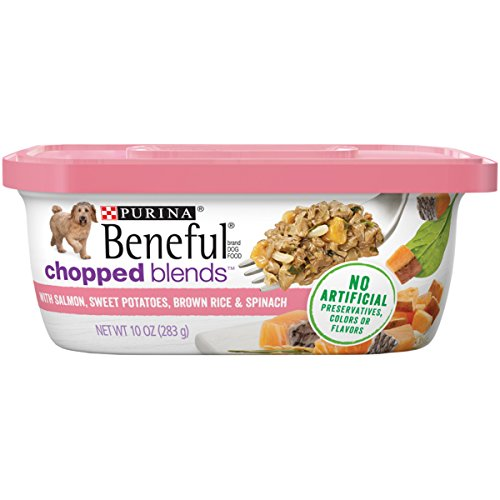 Purina Beneful Wet Dog Food; Chopped Blends With Salmon - (8) 10 oz. Tubs (Radiance Dog Food Healthy)