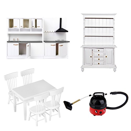 MagiDeal Vintage Wood Miniature Furniture Kit for 1/12 Dolls House Kitchen Dining Rooms Decor Accessories (Vintage Wood Doll)