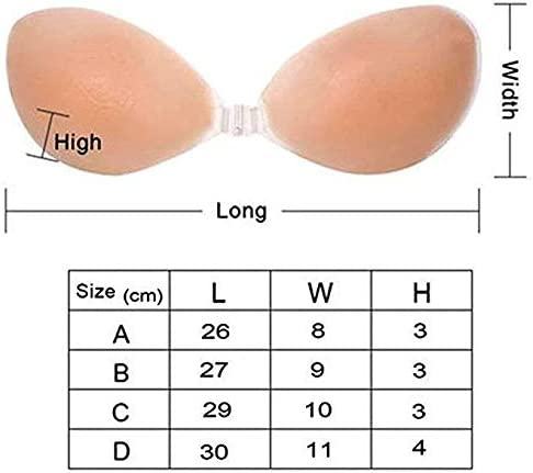 Aomh Self Adhesive Silicone Bra Reusable Strapless Backless Invisible Push up Bra Black