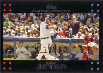 2007 Topps Derek Jeter (2007 Topps #40 Derek Jeter with George Bush and Mickey Mantle Baseball Card)