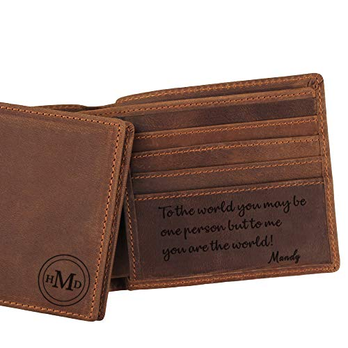 Custom Monogrammed Leather Wallet for Dad, Engraved Wallet FOR Dad, Personalized Gifts for Dad, Custom Gifts for Dad Birthday Gifts, Dad Father's Day Gifts -