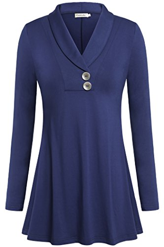 Ouncuty V Collar Blouses for Women, Crossover Long Sleeve Pleated Pullover Out Going Blouses Shirts Flowy Long Dressy Tunics for Legging for Sport Yoga Running Jogging Exercise Blue M