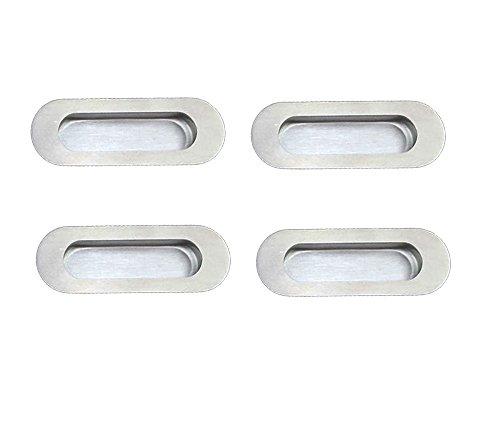 (NELXULAS Flush Recessed Sliding Pocket Door Handles Oval Kitchen Cabinet Finger Pulls Brushed Nickel (4 pack))