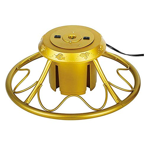 Home Heritage Rotating Christmas Tree Stand with Plug for Trees up to 9 Feet Tall, Gold (Thin Christmas Artificial Trees Tall)