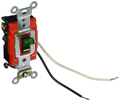 Leviton 1223-PLG 20-Amp, 120 Volt, Toggle Pilot Light, Illuminated On, Req, Neutral 3-Way AC Quiet Switch, Extra Heavy Duty Grade, Self Grounding, Back and Side Wired, Green