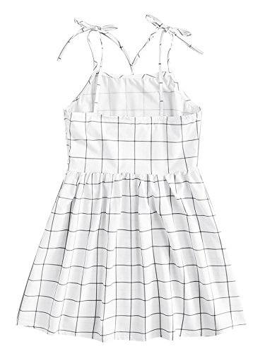 A line Button Plaid Dress Romwe White High Women's Waist Shift Cami Front Short Backless tt0q8