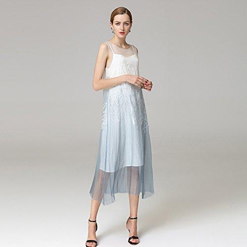 Dresses cotyledon Skirt Boat Slip Sleeveless Summer Plus Suit Spring Beach for Embroidery 2018 Block Light Neck Color Blue tPqEwPr