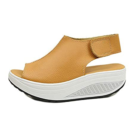 829ec4d5c29474 Fuxitoggo Rocker Sole Sandals Women Hook Loop Strap Platform Peep Toe  Summer Shoes (Color : Yellow, Size : UK 5.5): Amazon.co.uk: Kitchen & Home