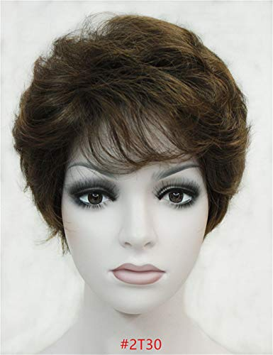 Synthetic Classical Short Curly Natural Blond Brown Wigs Full Capless Women Wig Brown 6inches]()
