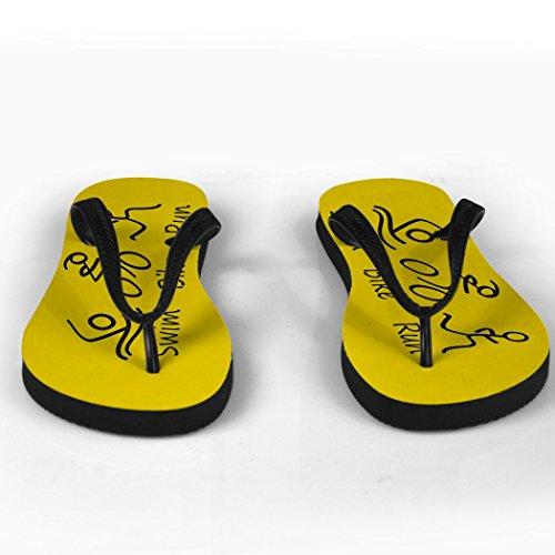 Triathlon Swim Bike Run Stick Figures on Yellow Flip Flops WJe06nZ44c