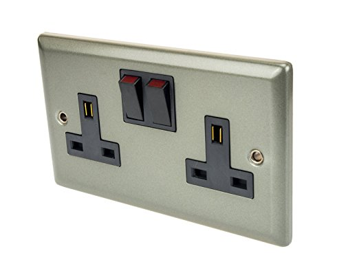 Double Socket Wall Switch 13A Double Pole White Interior Satin Chrome Effect