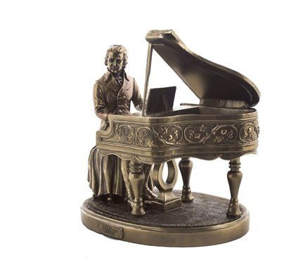Classical Statue (Classical Composer Wolfgang Amadeus Mozart with Piano 8 1/8 Inch Cold Cast Bronze Statue Figurine)