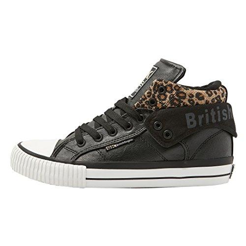 Donne Britanniche Cavaliere Rocco Alta Sneaker Nero / Leopardo