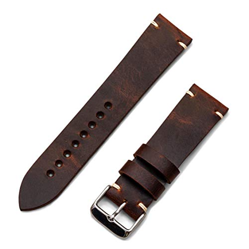 (Benchmark Basics 20mm & 22mm Waxed Pull-Up Leather Minimalist Watchband - Handmade in Brooklyn (Multiple Colors) (20mm, Autumn))