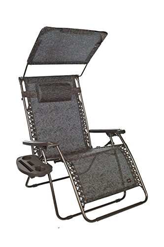 Bliss Hammocks XXL Gravity Free Recliner with Canopy Tray, 33 , Brown Jacquard