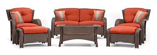 La-Z-Boy Outdoor Sawyer 6 Piece Resin Wicker Patio Furniture Conversation Set (Grenadine Orange) with All Weather Sunbrella Cushions - Relax in comfort with this beautiful outdoor patio furniture set. Perfect for deck, porch, firepit,and poolside conversation and drinks. Quick-drying deep seat cushions are covered in a high-performance Sunbrella fabric that allows for superior durability and colorfastness in all types of outdoor settings. All-weather textured resin wicker patio furniture weave with powder coated rust-resistant steel frame. - patio-furniture, patio, conversation-sets - 41MHWZJZD1L -