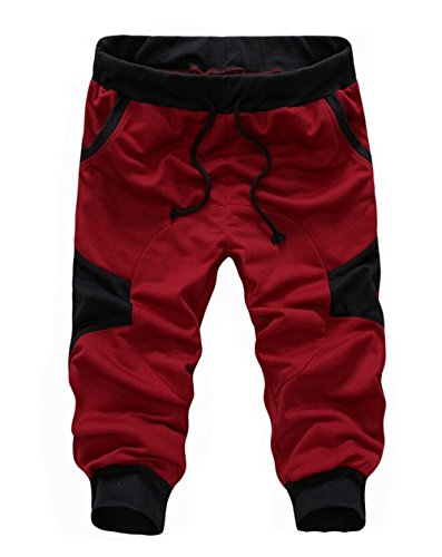 Red Training Shorts (SoEnvy Men's Casual Harem Training Jogger Sport Short Baggy Pants X-Large Wine Red)