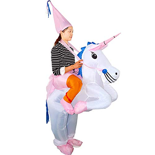 HUAYUARTS Unicorn Inflatable Costum Blue Adult Funny Blow up Suit Halloween Christmas Cosplay Birthday Gift, Plus Size -
