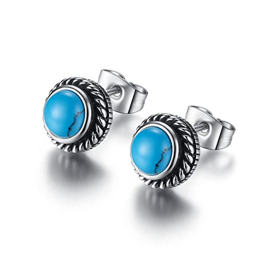 REVEMCN Jewelry Silver Tone Stainless Steel Vintage Stud Earrings for Men Women, Various Styles (Turquoise)