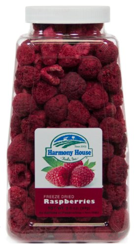 Harmony House Foods Freeze Dried Whole Raspberries (3.5 oz Jar) (Baby Food Dehydrated)