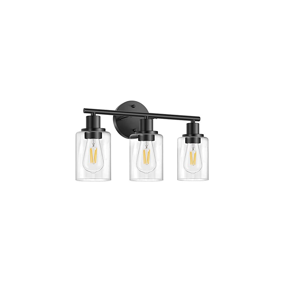 Bathroom Vanity Light Fixtures, 3 Lights Modern Wall Sconce Lighting Matte Black, Farmhouse Metal Wall Lamp with Glass…