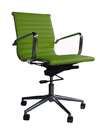 EAMES INSPIRED LOW BACK OFFICE CHAIR PU FAUX LEATHER  LIME GREEN