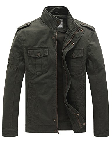 WenVen Men's Casual Cotton Military Jacket (Military Green 1, Large)
