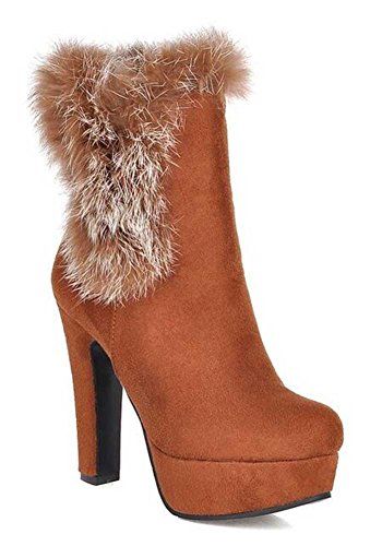High Boots Heel Ankle Round Yellow CHFSO Pull Lined Solid Faux Elegant Chunky Platform Womens Winter On Fur Toe 767qwafPx4
