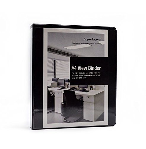 Empire Imports 4-Ring 1.25-Inch A4 Vinyl View Binders, Black (VV1.25-BK) (Ring Vinyl Overlay Binder)