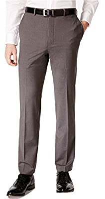 Calvin Klein Slim Fit Grey Textured Wool Flat Front New Men's Dress Pants