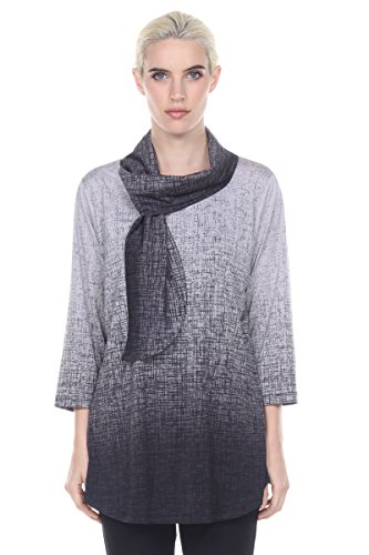 Terra-Sj Apparel 3/4 Sleeve Tunic with Wrap Around Scarf Collar Black SM (3/4 Sleeve Tunic Wrap)