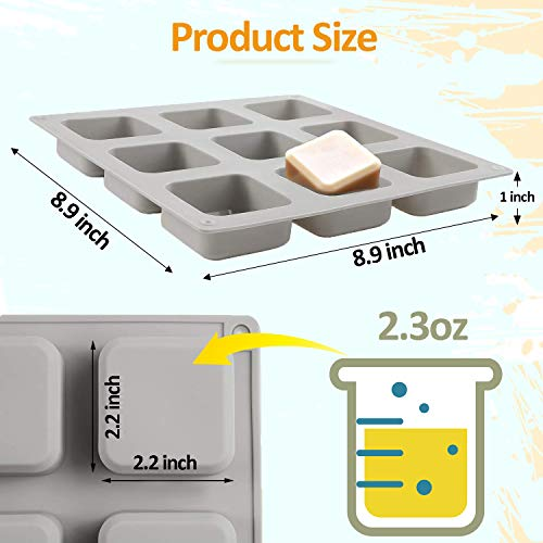 2 Pack Silicone Soap Molds, 9 Cavities Square Soap Mold, DIY Handmade Baking Mold, Cake Pan,for Soap, ice, Candle, Muffin, Loaf, Brownie, Cornbread Making