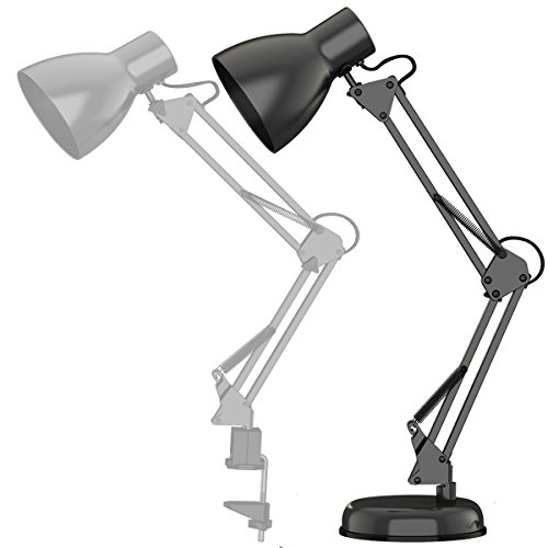 ToJane LED Long Swing Arm Desk Lamp Clamp Metal Architect Adjustable Folding Twin-Arm Clip-on Table Lamp GreyMetal Base