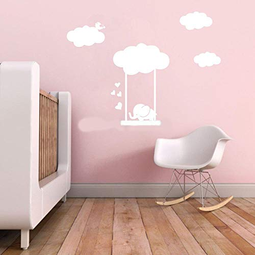 Tonaes Wall Art Stickers Quotes and Sayings Clouds Cute Elephant On The Swing Cartoon Decal for Kids Room Decor