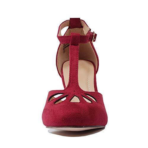 Guilty Comfortable Sandal Cutout Heel Teardrop Dress Party Suede Tstrap Heart Womens Mid Retro Burgundy Pump xBP8xwrn