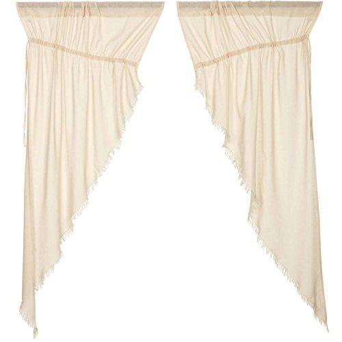 VHC Brands Coastal Farmhouse Window Tobacco Cloth White Fringed Prairie Curtain Pair, x King, Natural