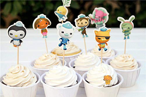 Astra Gourmet Octonauts Cartoon Cupcake Topper Picks Party Decoration for Kid's Birthday Party Decoration Supplies, Set of 24]()