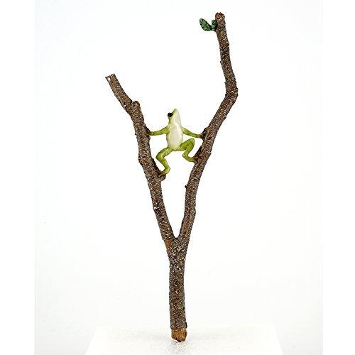 Top Collection 4398 Miniature Fairy Garden Frog Climbing Branch & Planter Stake Decor, Small