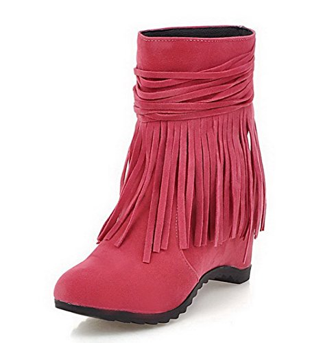 Toe Rosered Heels Allhqfashion Low Frosted Closed Women's On Pull High Round Top Boots w7wrYq