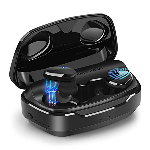 Bluetooth 5.0 True Wireless Earbuds, Whew Bluetooth Headphones 90H Playtime Waterproof,Auto Pairing 3D Stereo Sound Earphones in-Ear Built-in Mic Headset for Sport Running with 2000mAh Charging Case