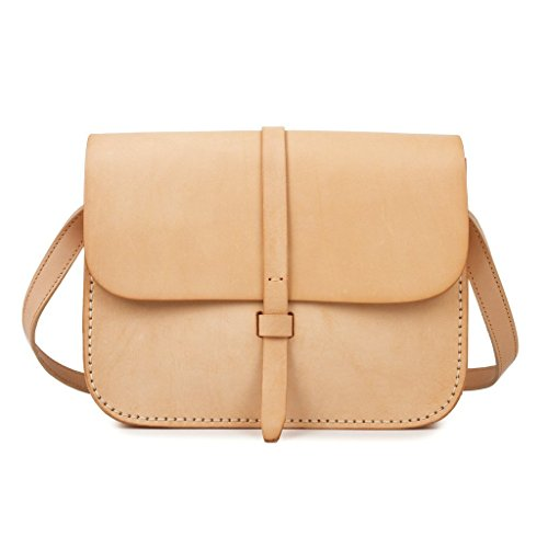 Baigio Genuine Leather Women's Crossbody Handbag Satchel Shoulder Messenger Bag Lady Purse Bag Beige