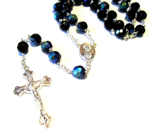 Silver Plated Necklace Rosary Crystal Black Glass Beads & Jesus Crucifix and Jerusalem Cross