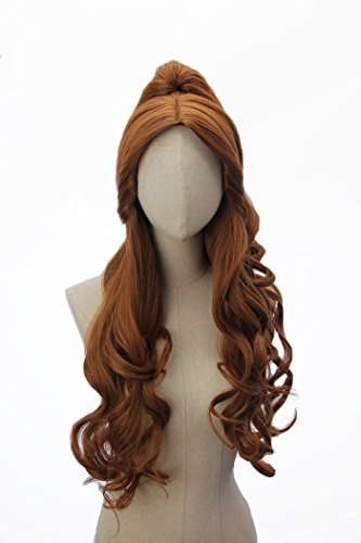Long Brown Wavy Curly Wig for Anime Cosplay Costume Party Wigs -