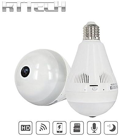 RtTech Cámara de Seguridad Wifi 1080p, Inalámbrica, Gran Angular de 360º, Bombilla con