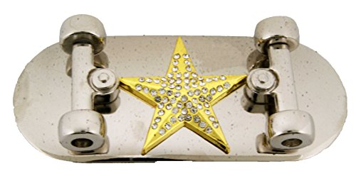 Skateboard Belt Buckle Goth Tribal Tattoo Skull Chopper Metal Rhinestone Silver (Star Nautical R/stone Gold Size: 5.25