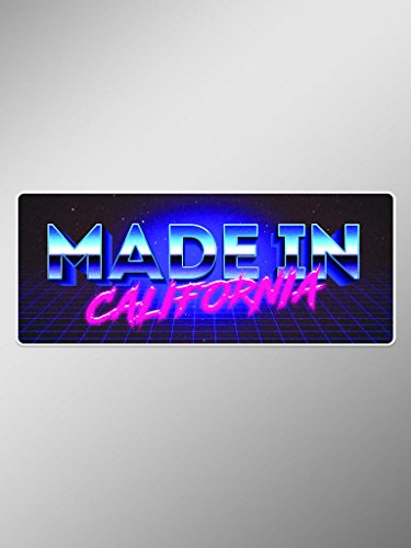 Price comparison product image Made In California 80s Font Vinyl Decals Stickers ( Two Pack ) / Cars Trucks Vans Windows Walls Laptop Cups / Printed / 2 - 5 X 2.5 Inch Decals / KCD1582