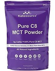 Puur C8 MCT poeder (500g zakje) | 0g netto koolhydraten | Hoge 65% Pure C8 MCT-oliebelasting | Alle natuurlijke ingrediënten | Gluten- en zuivelvrij | Effen smaak | Ketosource®