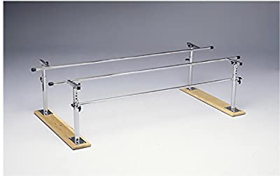 """Fabrication Enterprises 15-4000 Folding Parallel Bars with 7' Length Wood Base, 42"""" Length x 7"""" Width x 1.25"""" Height"""