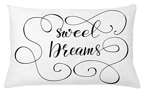 - Ambesonne Sweet Dreams Throw Pillow Cushion Cover, Inspirational Text with Modern Romantic Calligraphy Design and Swirls, Decorative Accent Pillow Case, 26 X 16 Inches, Black and White
