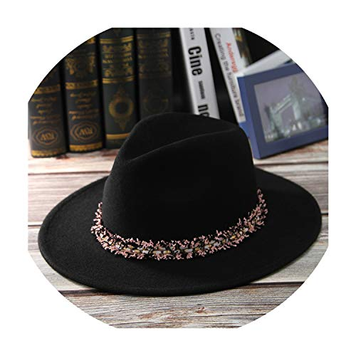 (Fedoras Real Wool Felt Hat for Women Men Classical Jazz Cap with Tassels Band Vintage Wide Brim Jazz Top Hat,A,56 cm)
